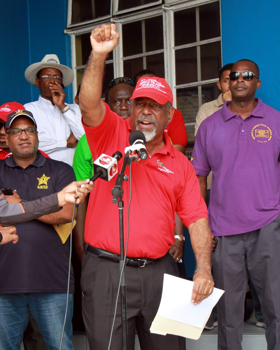 BIGWU President Vincent Cabrera addressing union members  before the start of the May Day March at Circular Road, San Fernando.