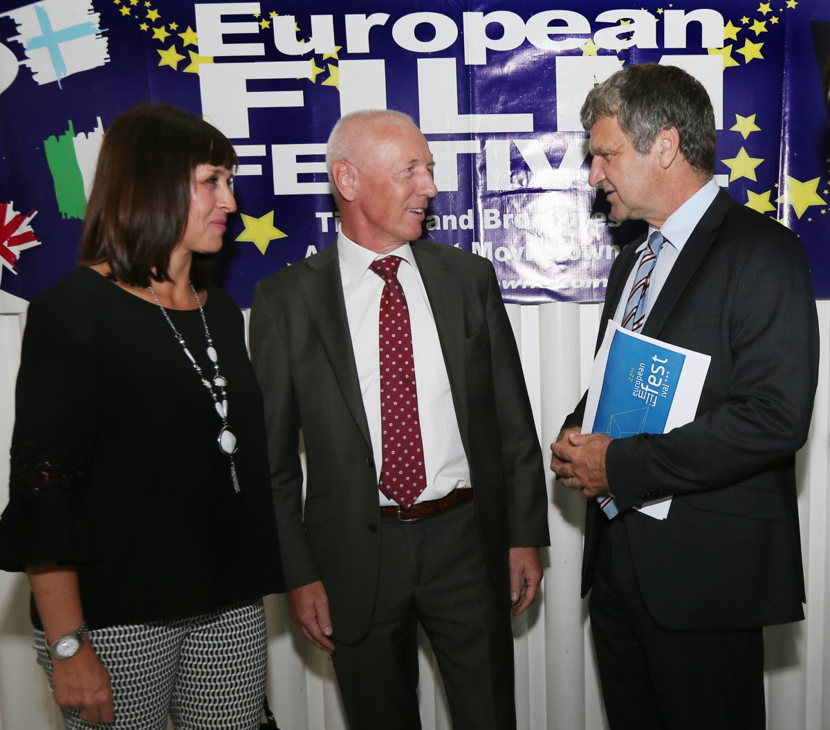 EU delegation to TT Europrean Film Festival 2018 launch and screening at UTT Campus Napa PoS. From right deputy German ambassador to TT Andreas Haack, EU Ambassador  Arend Biesebroek and Caroline Alcock dep British high commissioner to TT