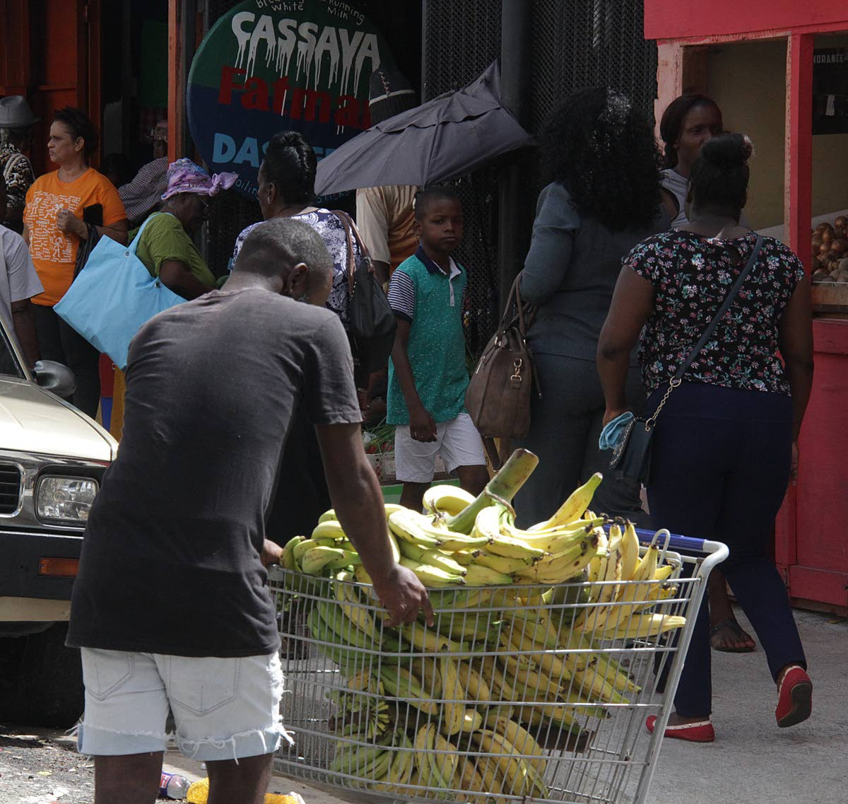 A man pushes a cart filled with plantains, as vendors navigate around the current restrictions by the City council. PHOTO BY ROGER JACOB