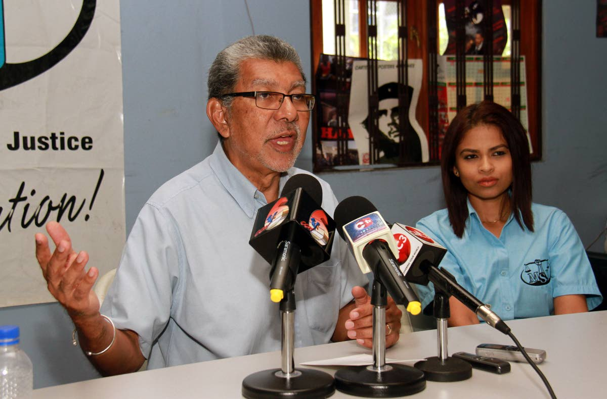 Left to right, MSJ political leader David Abdulah and PRO Alania Bachan during a press conference held at the MSJ head office St. Joseph Road, San Fernando.