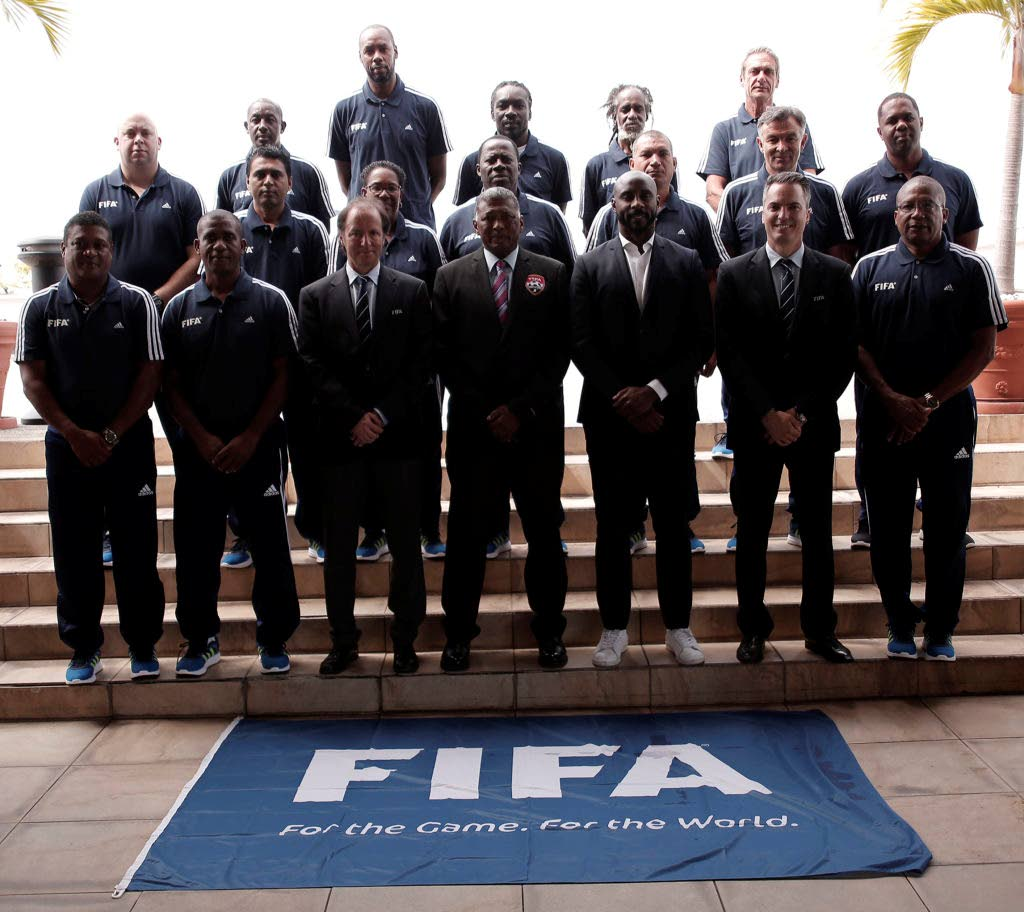 Participants in the FIFA Technical Directors workshop pose with FIFA and CONCACAF delegates at its closing on Friday.