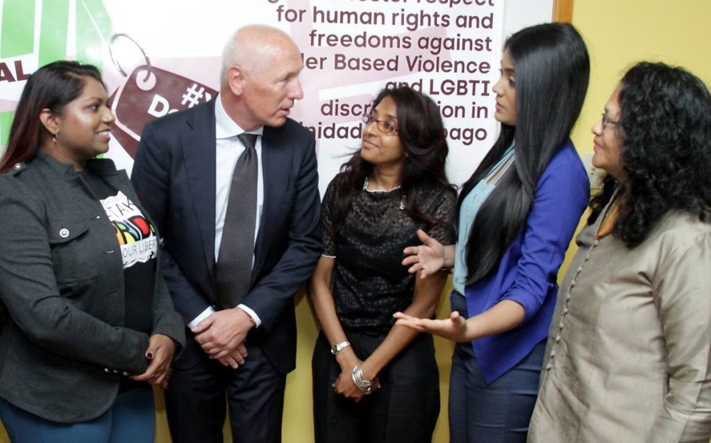 H.E. Arend Biesebroek, Ambassador for the European Union in T&T, alongside Dr Gabrielle Hosein, Head of Department at IGDS and researchers Renelle White, Samantha Rattan and Rawwida Baksh, Principal Researcher, during the workshop for CSO's to contribute to reduce Gender Based Violence and LGBTI discrimination in Trinidad and Tobago, Institute  for Gender Development Studies, SALISES UWI, St Augustine. Tuesday, May 15, 2018. PHOTO BY ROGER JACOB.