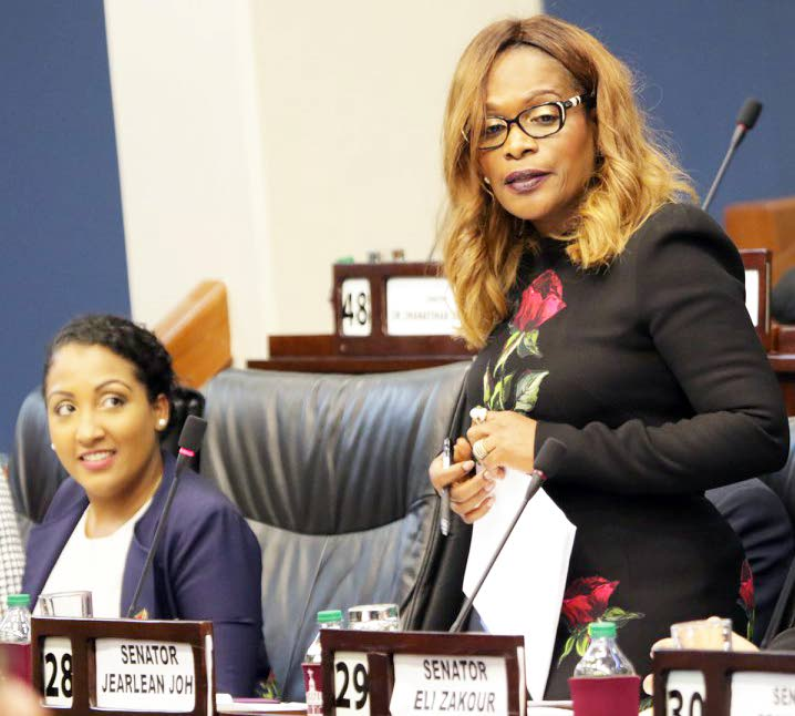 IN THE UPPER HOUSE: UNC deputy political leader Jearlean John speaks yesterday in the Senate after being sworn in as a temporary Opposition Senator. PHOTO COURTESY TT PARLIAMENT