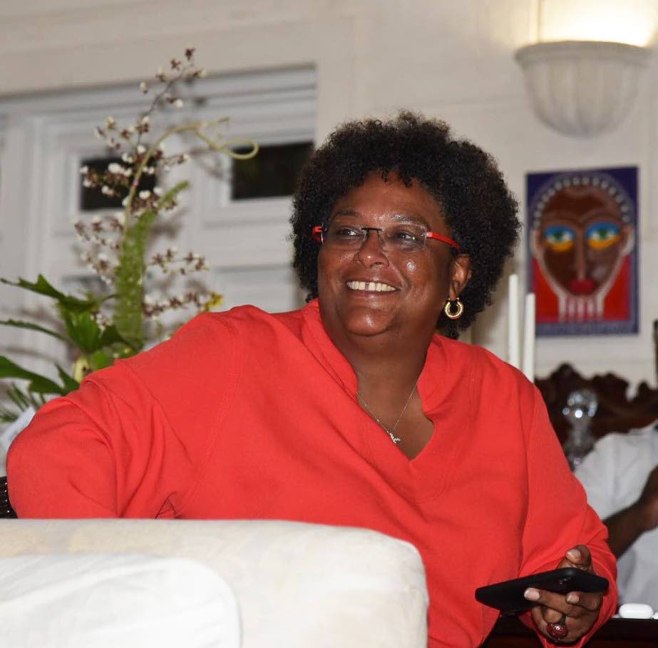 MIA'S MOMENT: Mia Mottley was sworn in yesterday as the first woman Prime Minister of Barbados hours after her Barbados Labour Party destroyed previous prime minister Freundel Stuart's Democratic Labour Party 30-0 in that country's general election on Thursday.