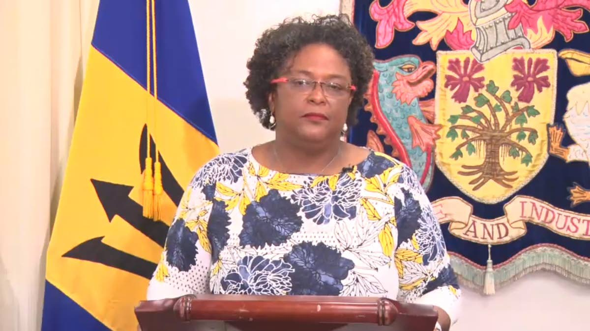 Barbados PM Mia Mottley during an address to the nation yesterday. Photo courtesy Barbados Government Information Service