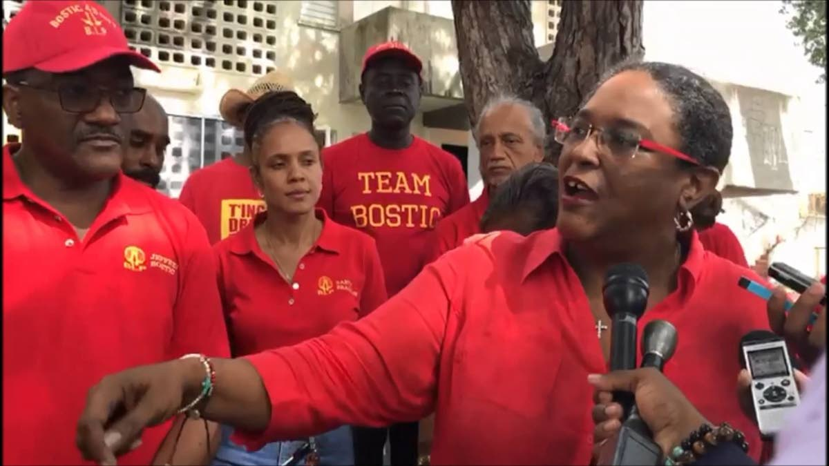 Mia Mottley and supporters during the election campaign in Barbados. Mottley and the Barbados Labour Party swept the polls on Thursday winning all 30 seats to defeat the Democratic Labour Party which governed Barbados since 2008.