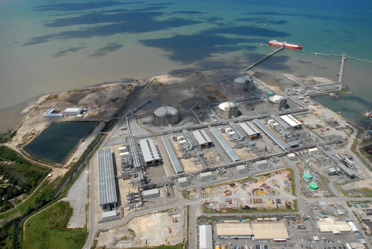 An aerial shot of Atlantic's liquefied natural gas facility in Point Fortin. Higher LNG and petrochemical exports bosted energy exports earnings in the last quarter of 2017, the Central Bank reports.Photo  courtesy Atlantic