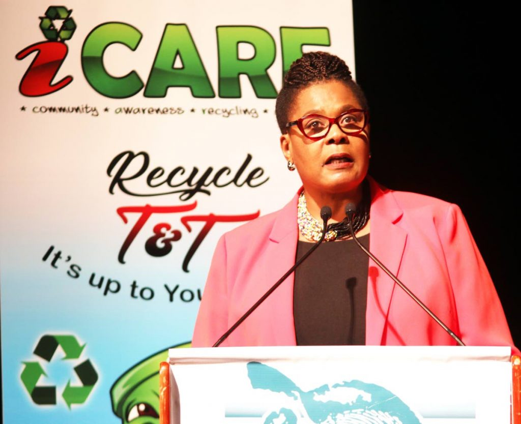 CLEAN UP: President Paula-Mae Weekes speaks on the importance of preserving the environment at the EMA's Green Leaf Awards at the National Academy for the Performing Arts in San Fernando yesterday. PHOTO BY ANSEL JEBODH
