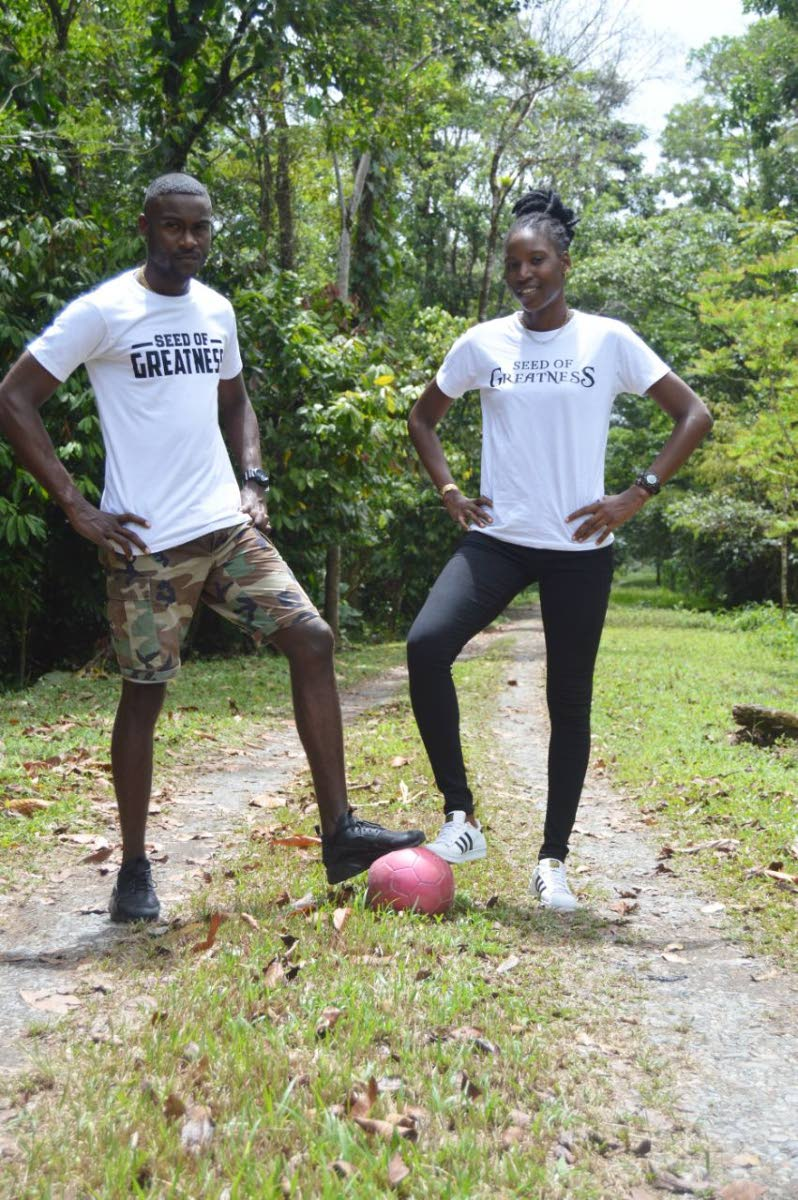 Denice Dedier and a model sport her Seed of Greatness line. Dedier also runs a football academy in her Biche hometown.