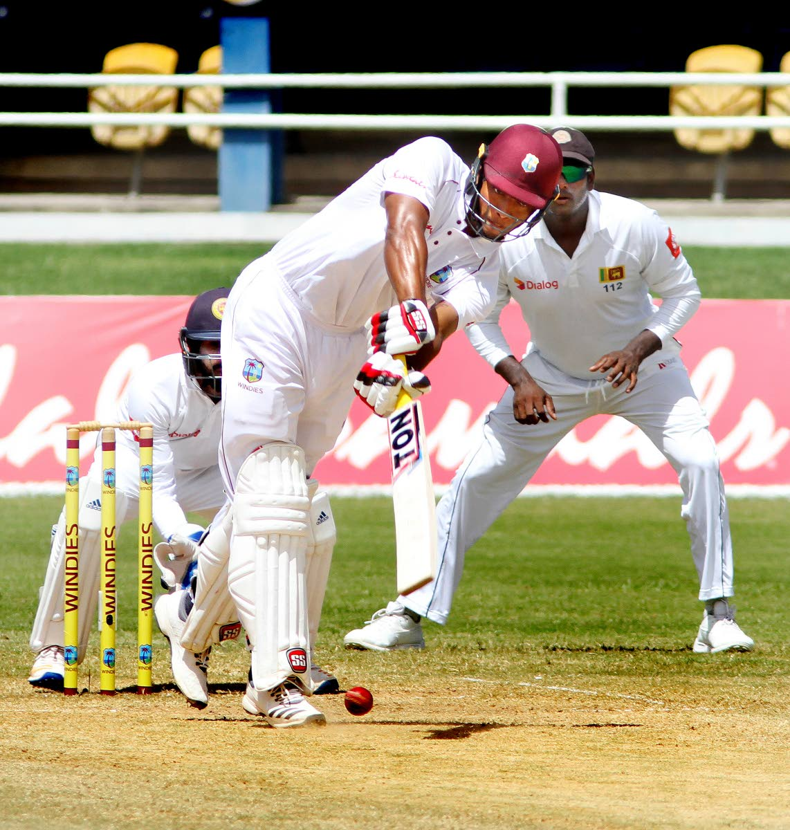 Kieran Powell plays a shot, yesterday,on Day 4 of the first Test against Sri Lanka, at the Queen's Park Oval, Port of Spain. Powell resumed the day's play on 64 and added a further 24 runs to the score, before miscuing a Dilruwan Perera ball to midwicket. Photo by  SUREASH CHOLAI