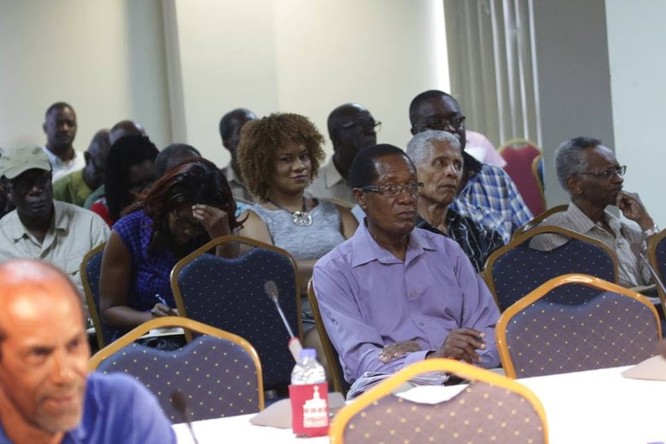 Member of Parliament for Tobago Eastand Minister in the Office of the Prime Minister with responsibility for Tobago Affairs, Ayanna Webster-Roy, centre, second row, sits in the audience at last Sunday's first public hearing by the Joint Select Committee on the Constitution (Amendment) (Tobago Self-Government) Bill, 2018 at the Victor E Bruce Financial Complex in Scarborough.Photos courtesy Parliament