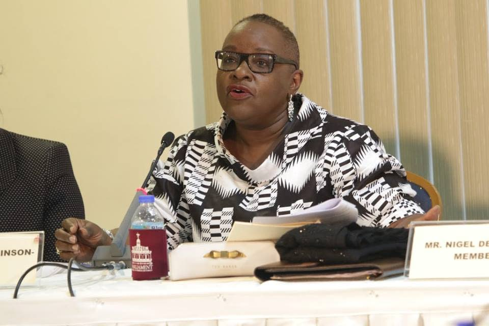 Camille Robinson-Regis, Chairman of the Joint Select Committee on the Constitution (Amendment) (Tobago Self-Government) Bill, 2018, speaks at Sunday's first public hearing at the Victor E Bruce Financial Complex in Scarborough.
