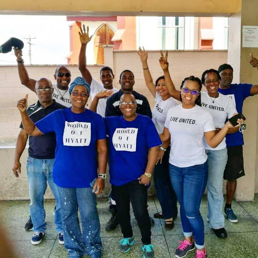 The Hyatt Regency team at the Belmont Government Primary School, Belmont, where they patricipated in  cleaning and painting the school.