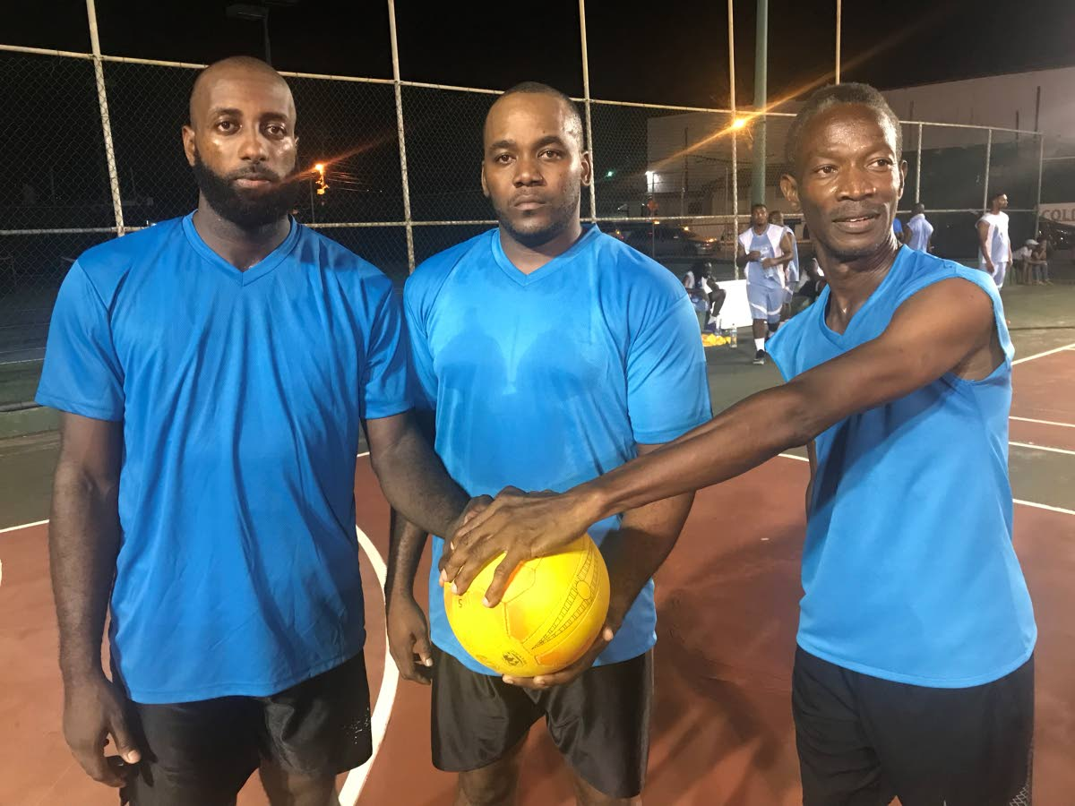 From left, Akeem De Leon, Marcus Clinton and Cliff Nicholson, of Matrix, pose for a photo after winning the Men's Shoot-out competition of the Tobago Netball League one-day competition, last Wednesday, at the Shaw Park Netball court. Photo by Jem Gordon