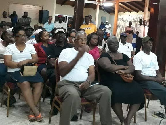 Residents and landowners on acreage in Bon Accord that the Government has identified for compulsory acquisition for a new airport terminal building, gather at PanAm building in Crown Point on for a free legal clinic organised by the  THA Minority Council on June 4.