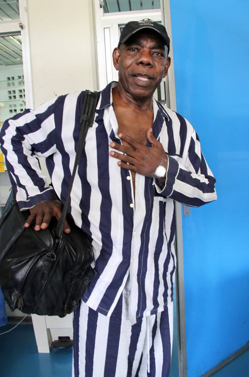 Calypsonian Winston Scarborough aka The Original De Fosto Himself on June 12, the day he was discharged from the Eric Williams Medical Sciences Complex (EWMSC) at Mt Hope.