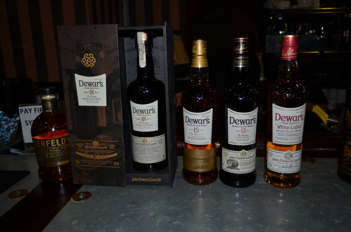 The Dewar's range  of whiskeys  that were tasted  at the event