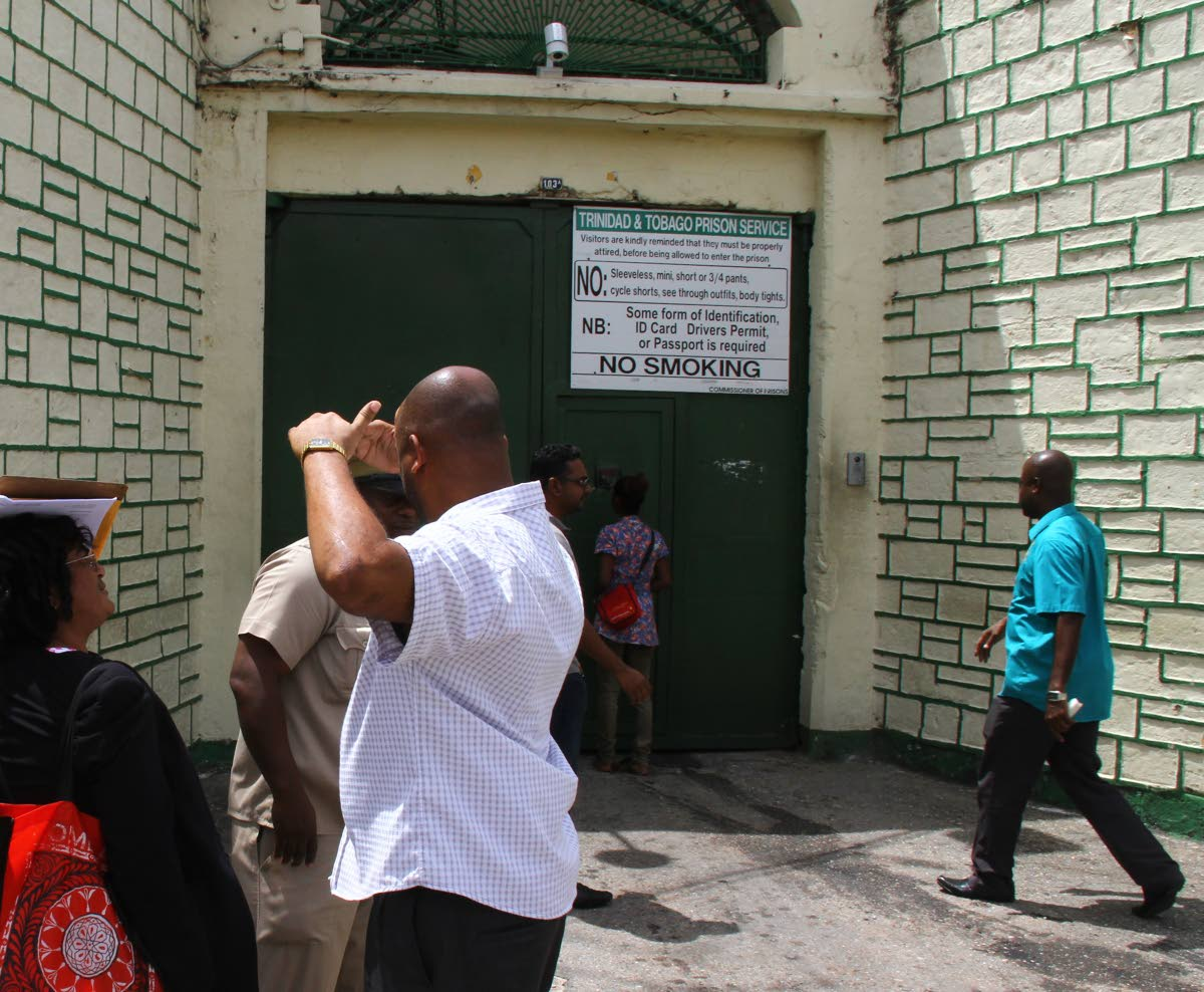 Members of the public wait to visit prisoners at the Port of Spain Prison, Frederick Street, Port of Spain. FILE PHOTO