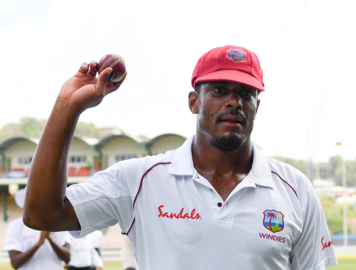 Man of the Match Shannon Gabriel walks off the field in the 2nd Test vs Sri Lanka with the ball after finishing with 13 wickets in  the match.