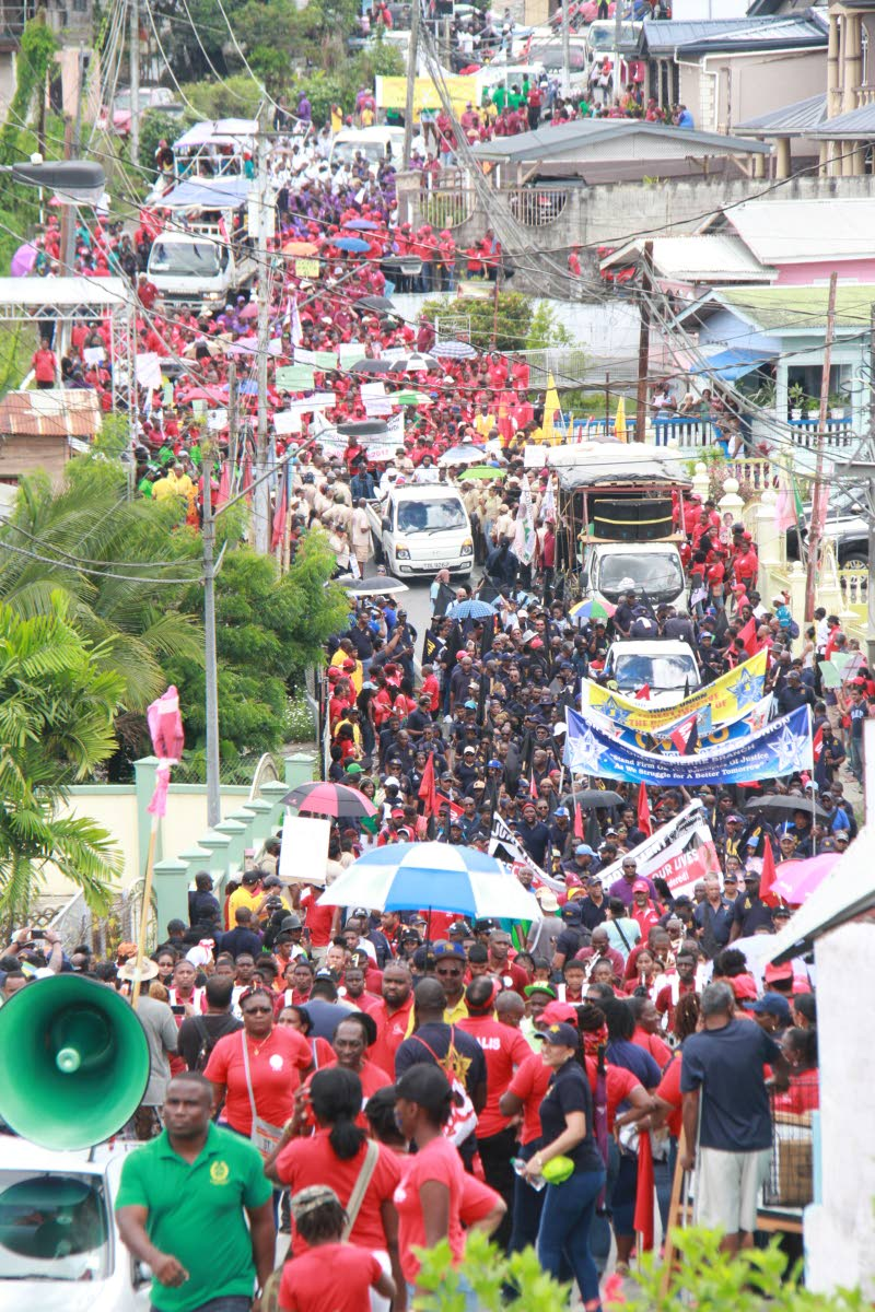 Several trade unions march from Avocat Junction Fyzabad to Charlie King Junction Fyzabad in in celebration of Labour Day in TT. Several speakers including leaders of unions under the Joint Trade Union Movement  and FITUN. Photo: Anil Rampersad