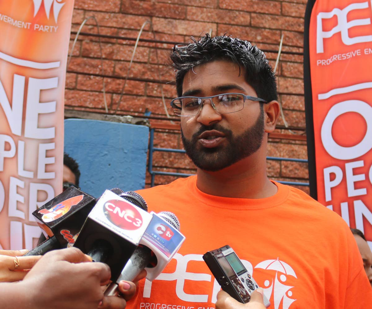 Progressive Empowerment Party Barataria candidate Christoph Samlal speaks to reporters after filing his nomination papers in Port of Spain last Monday. PHOTO BY XAVIER SYLVESTER