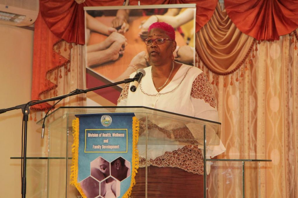 Beverly Morson, Director of Serenity Place, delivers the feature address, telling of her life of drug abuse and drug traffickingat theSubstance Abuse Symposium for Women hosted by the Division of Health last Tuesday at the TobagoNutrition Co-operative Society Limited, Canaan.