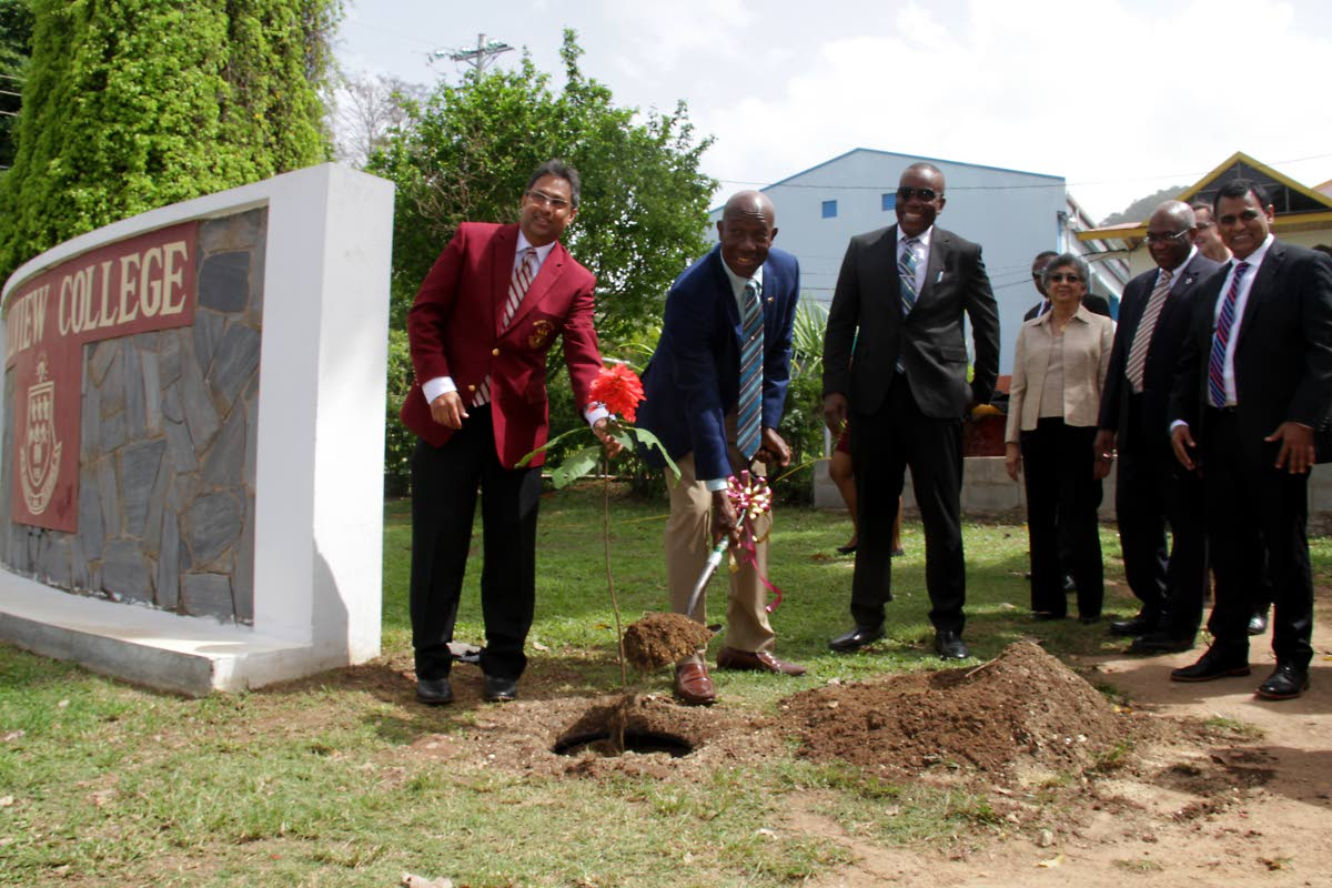 PM Dr. Keith Rowley (2nd from left)  plants a Chanconia seedling, alongside Leslie Mahase, Prinicipal of Hillview College, Esmund Forde, MP for Tunapuna, Yasmin Baksh-Comeau, Curator of National Herbarium of T&T, Prof. Brian Copeland UWI St Augustine Prinicipal and Pro Vice Chancellor and Rohan Sinanan, Works and Transport Minister at the launch of Greening The Urban Landscape - A reforestation project, Hillview College, Tunapuna.  PHOTO BY ROGER JACOB.