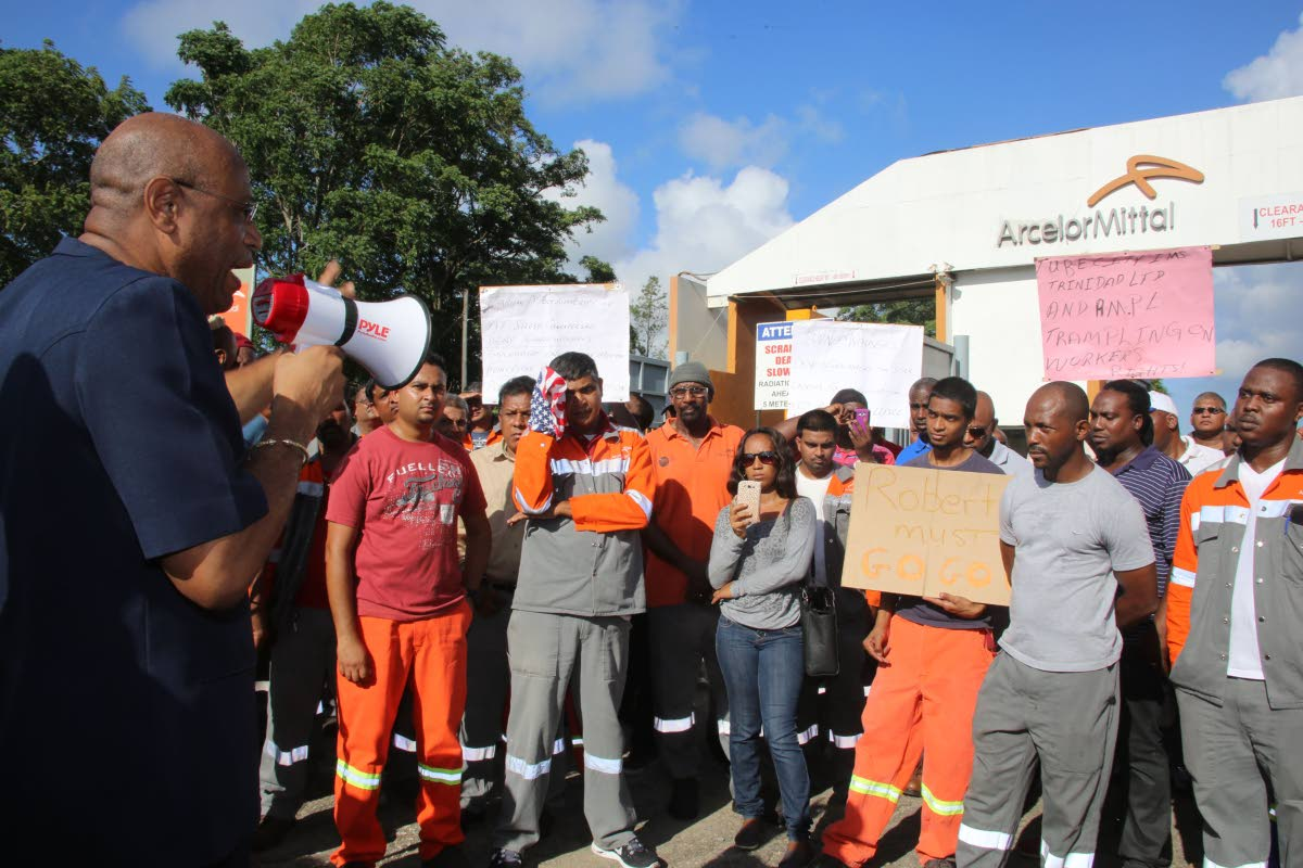 File photo: OWTU President General Ancil Roget speaking to workers of ArcelorMittal steel on August 25, 2015 during a protest in front of the security entrance of the plant in Point Lisas. Photo by Vashti Singh.