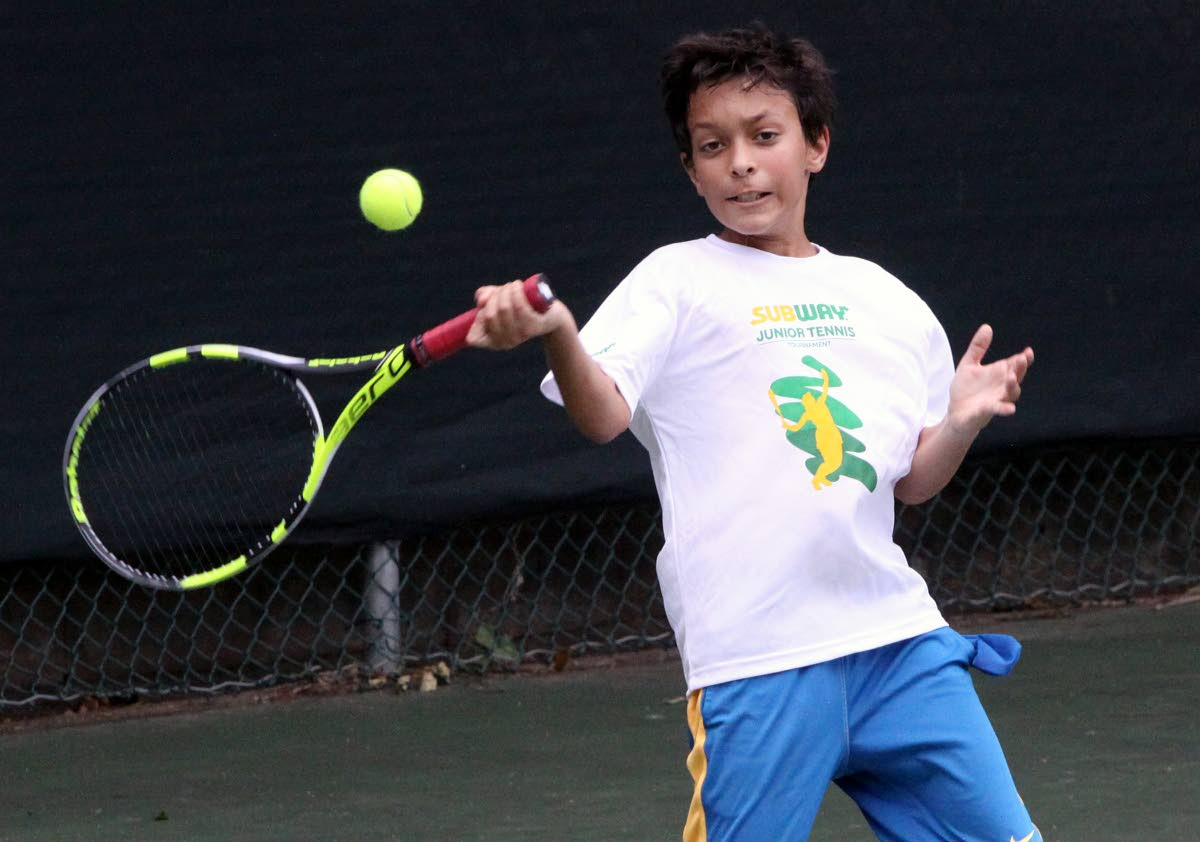 Beckham Sylvester of TT first team won his match against Guyana yesterday in the ITF COTECC 12 and under team competition at the National Racquet Centre, Tacarigua, yesterday.