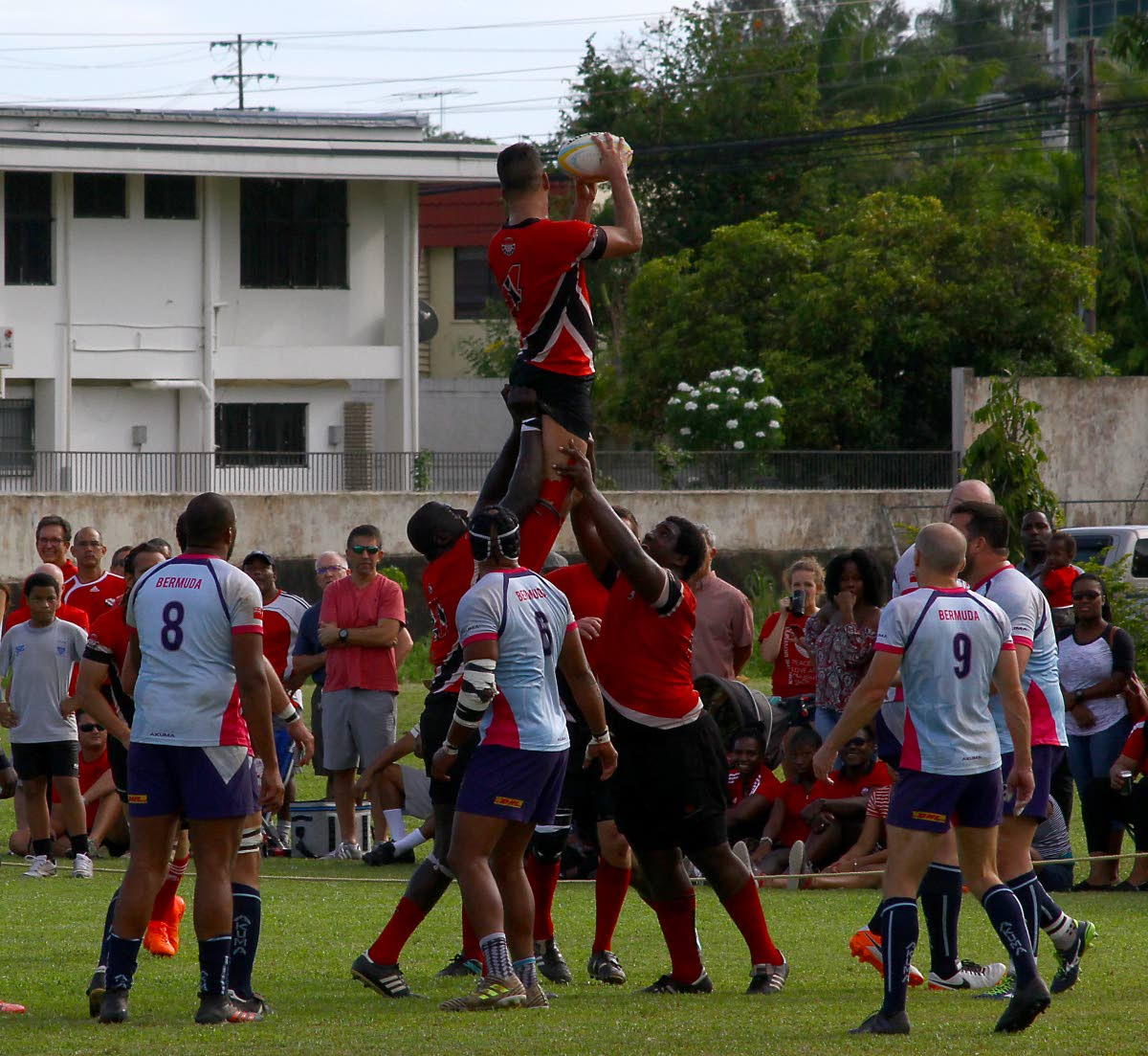 A line-out between Trinidad and Tobago and Bermuda in the RAN Men's 15 Tournament in May this year.