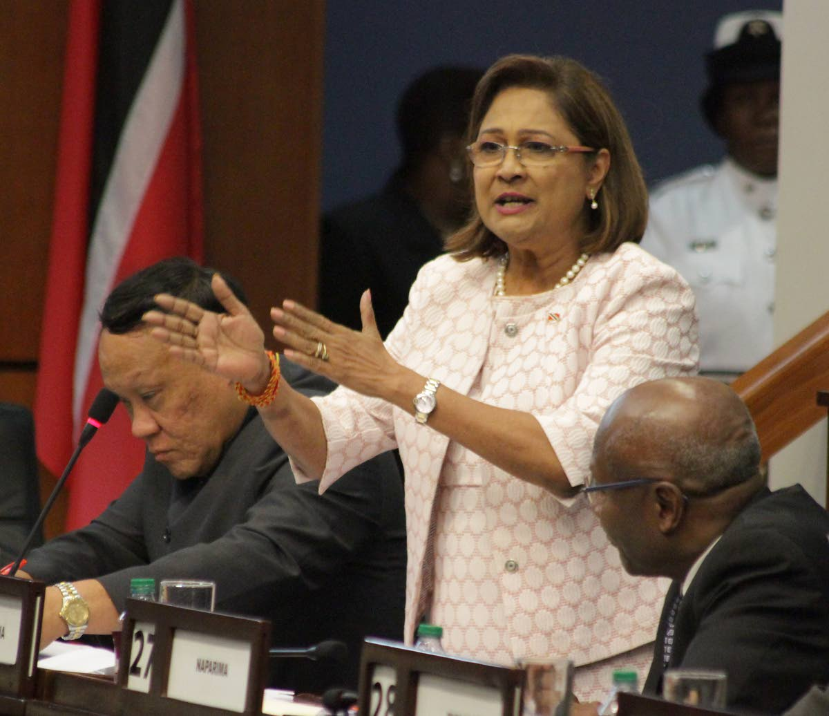 Opposition Leader Kamla Persad-Bissessar at a sitting of the Lower House on June 22. FILE PHOTO