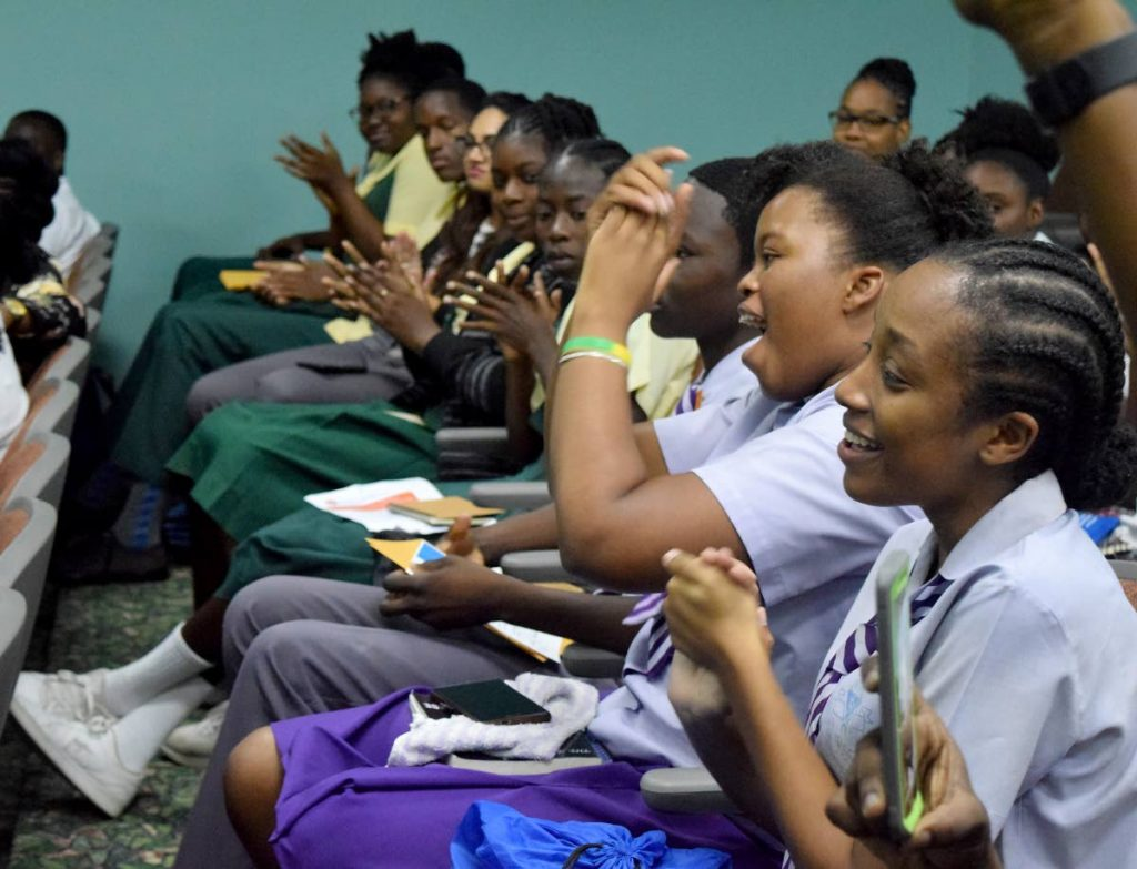 Students applaud results of the Tourism Youth Forum and Junior Secretary Competition on Tuesday at the Shaw Park Cultural Complex.
