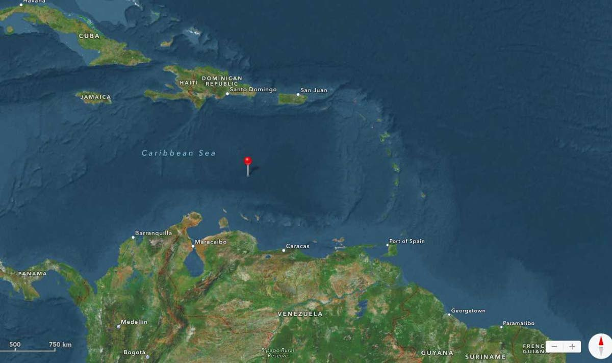 Satellite tracking shows the Galleons Passage in the Caribbean Sea approaching the Venezuelan mainland