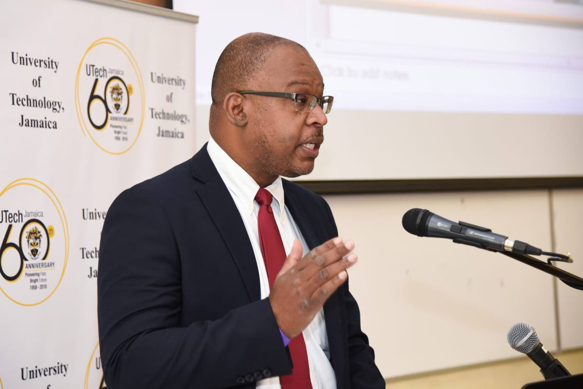 Lincoln Allen, chief executive officer, Cannabis Licensing Authority, addressing the opening ceremony of the University of Technology's (UTech) third annual Jamaican Medical Cannabis Integration Symposium (JAMECANN), on July 5, 2018 at the institution's campus in Papine. Photo taken from jis.gov.jm