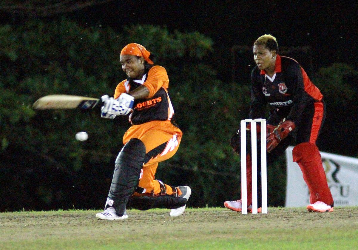 Reniece Boyce of Trident Sports Phoenix plays a shot against UDeCOTT North Starblazers in the Courts T20 Grand Slam at the National Cricket Centre, Balmain, Couva. PHOTO BY ANIL RAMPERSAD.
