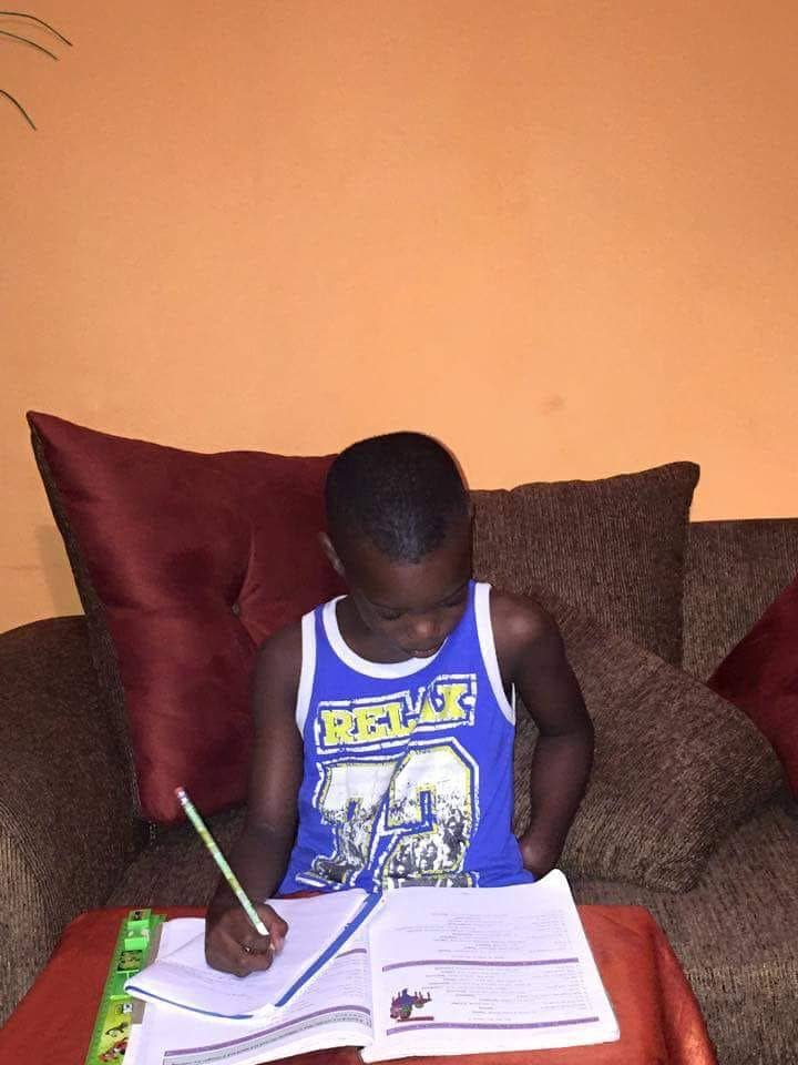 Jahmali Samuel prepares for the SEA exam.