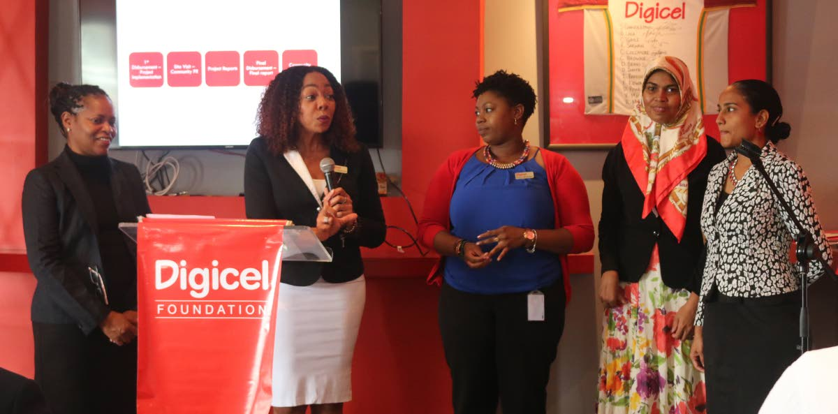 From left, Alicia Hospedales, Project coordinator, Penny Gomez, CEO of Digicel Foundation, Cindyann Currency, Operations Manager, Nazmin Khan, Accounts & Admins Assistant, Diana Mathura, Project officer, at the Epic Media Launch in the digicel hospitality Suite Queen's park Oval POS on  Wednesday 25th july 2018 25-7-18