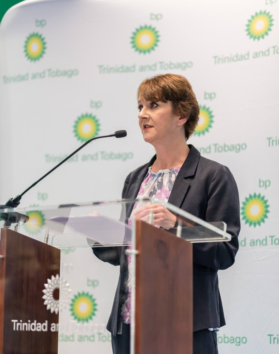 COMMITTED TO TT: BpTT's new regional president Claire Fitzpatrick speaks during a media briefing at the company's head office in Port of Spain yesterday.