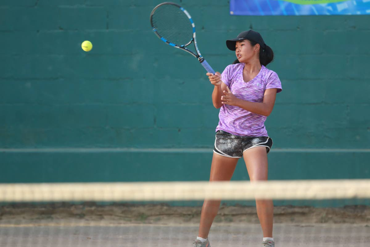 Yin Lee Assang hit a forehand at a previous tennis tournament.