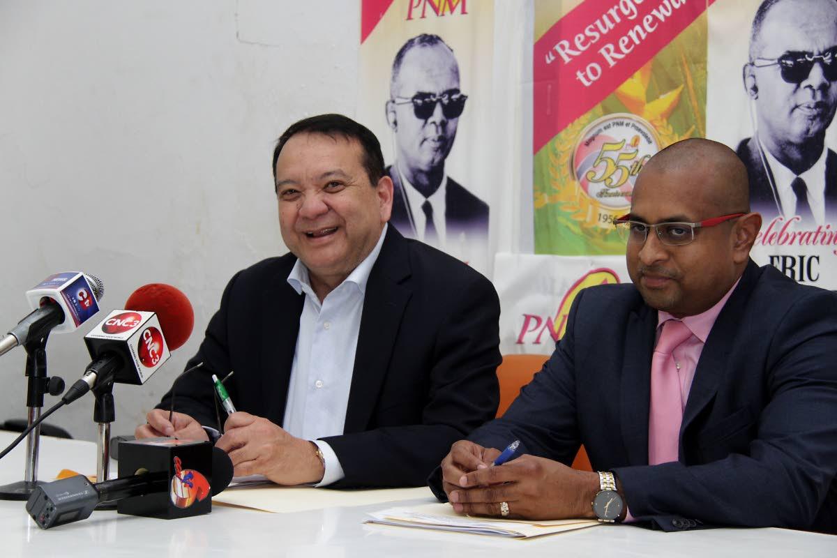 Franklin Khan, PNM Chairman and Daniel Dookie, PNM General Secretary.