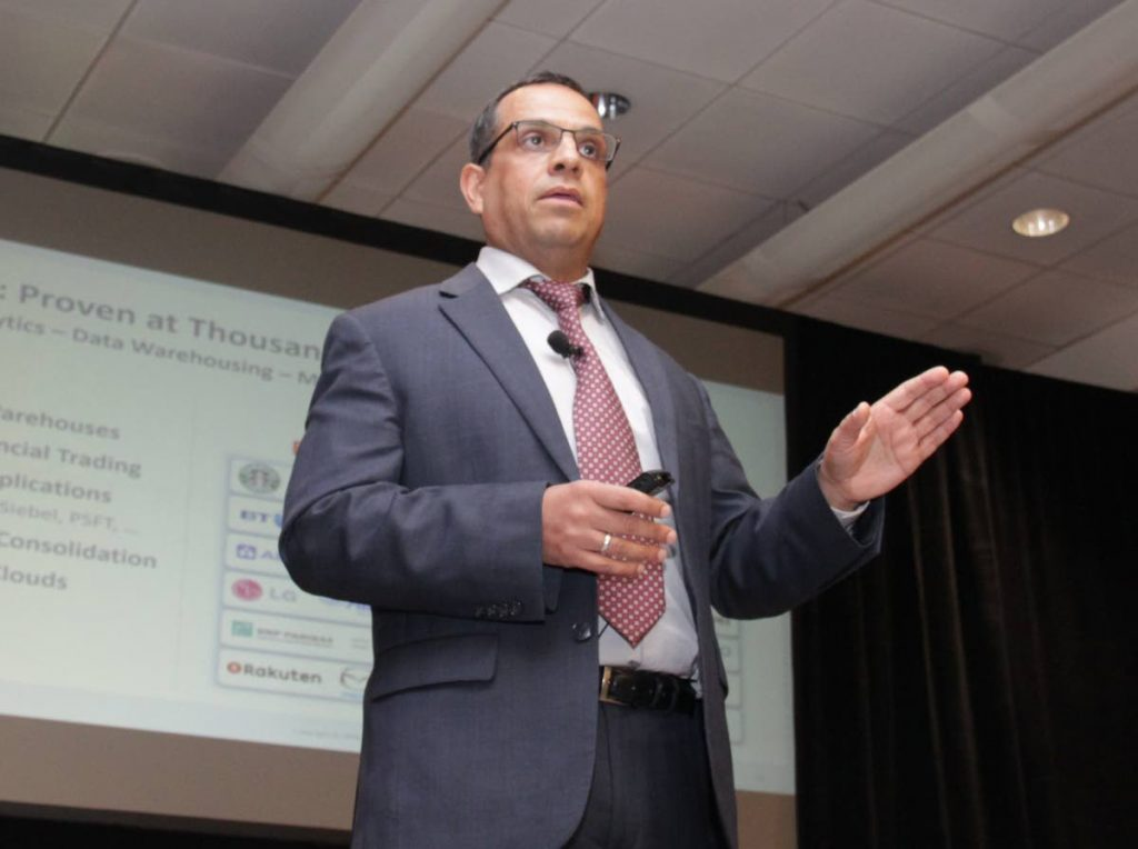 Amit Kanda, VP of Oracle (Global Strategy & Product Cloud Services) at the Fujitsu and Oracle launch of Oracle Cloud at Customer. The companies have formed a partnership to provide Cloud service to local business, Sangre Grande Room, Hyatt Regency, POS. Thursday, July 19, 2018. PHOTO BY ROGER JACOB.