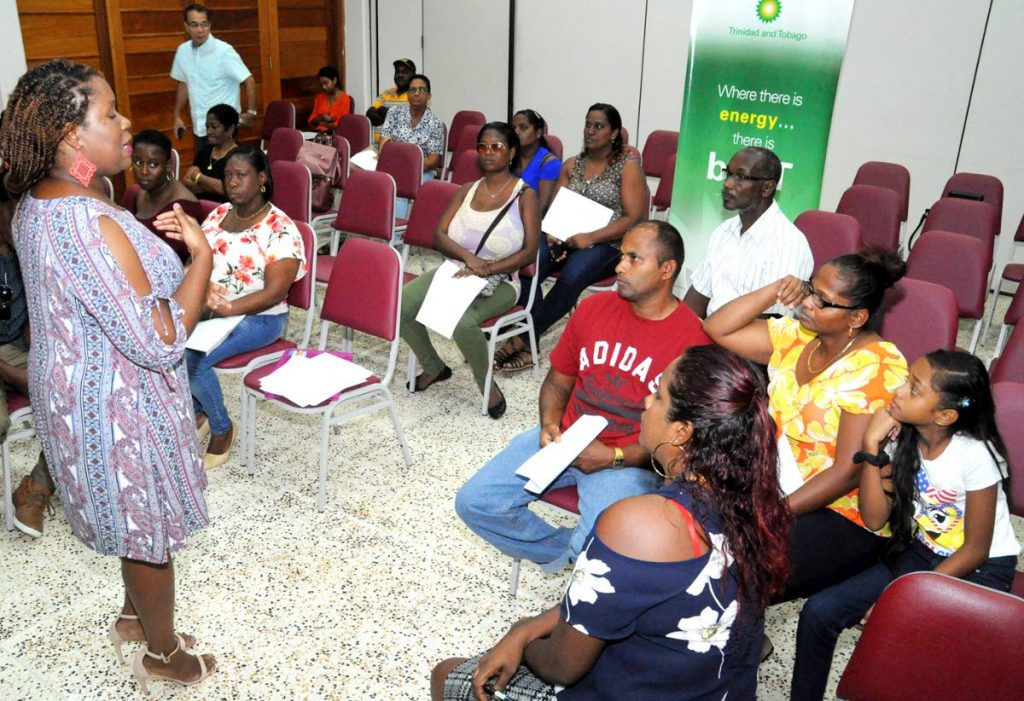 Denyssa David of the non-governmental organisation, Global Villages, answers questions during the one-on-one session following the official launch of the LEAP initiative that is being sponsored by BPTT.