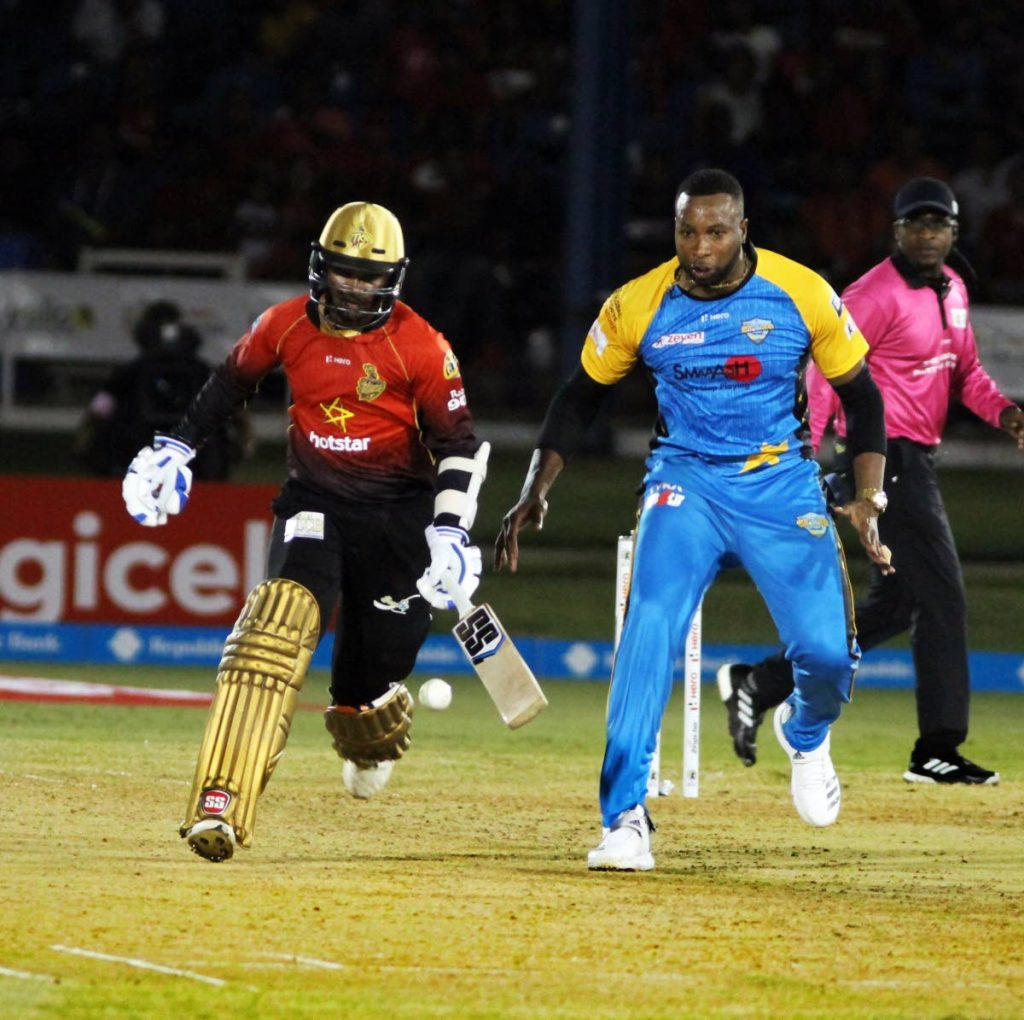 TKR DENESH RAMDIN   LEFT AND ST LUCIA STARS KEIRON POLLARD   CPL FIRST GAME ..OVEAL ..PHOTO SUREASH CHOLAI      09-08-18