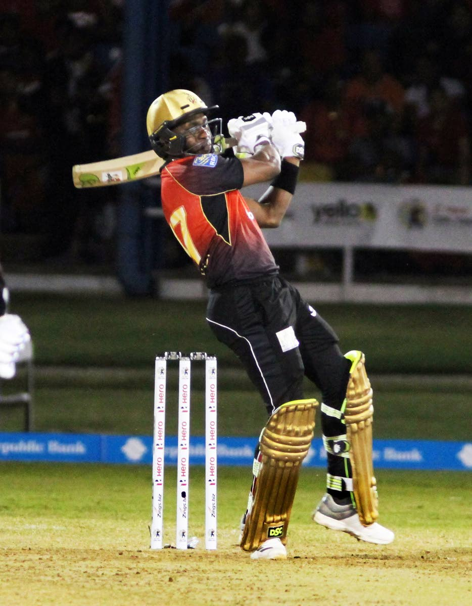 File photo: Trinbago Knight Riders skipper Dwayne Bravo plays a shot in their first match against St Lucia Stars in the Hero Caribbean Premier League at the Queen's Park Oval, St Clair.