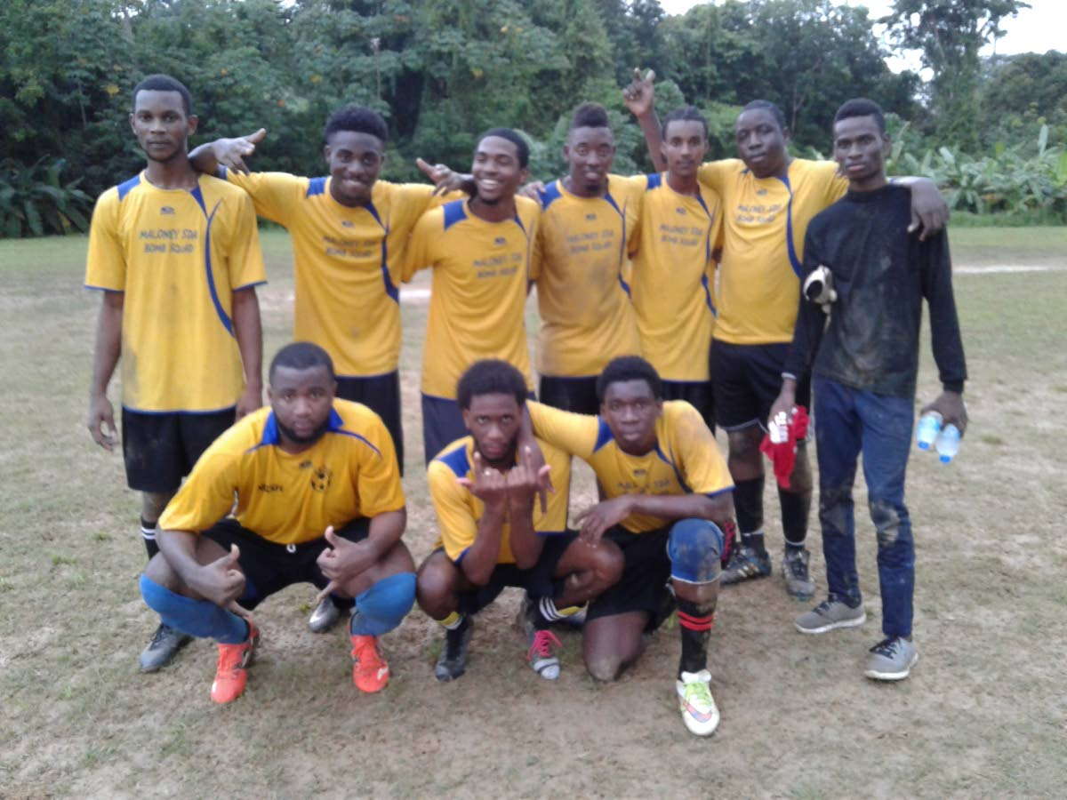 All Stars celebrate their debut victory in the Fishing Pond Football League over the weekend.
