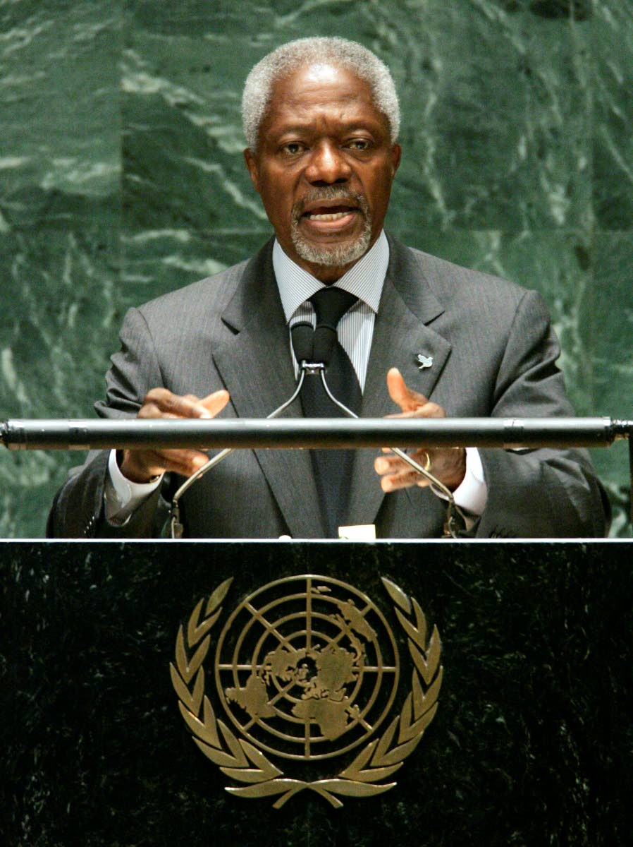 In this May 2, 2005 file photo UN secretary general Kofi Annan addresses a conference on the Nuclear Nonproliferation Treaty at the UN headquarters in New York. Annan, one of the world's most celebrated diplomats, died yesterday at age 80. AP Photo