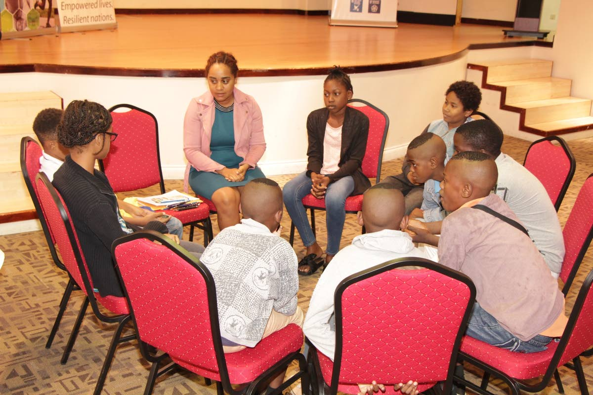 Children from Tobago West participate in a focus group discussion on poverty in Tobago conducted by the United Nations Development Programme (UNDP) in collaboration with the Health Division.