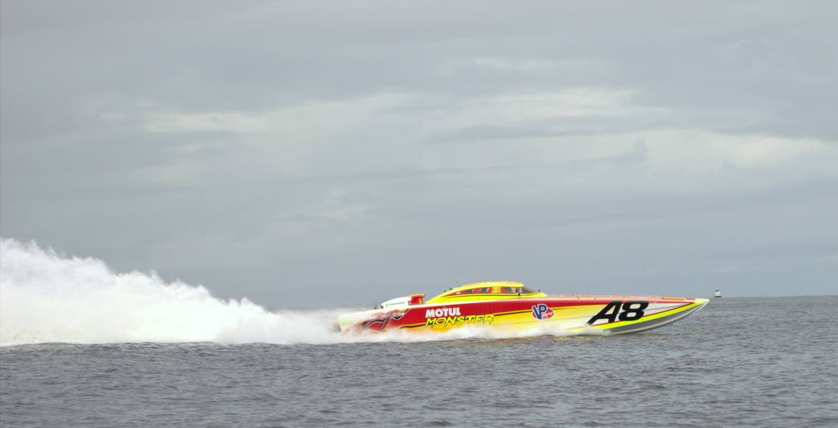 Motul Monster arriving at Store Bay on Saturday to place first in the annual Great Race. Photo by David Reid