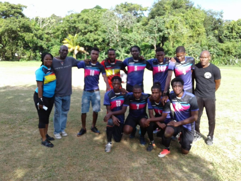 Manzanilla FC celebrate their victory over the weekend in the Caribbean Welders Fishing Pond Football League.