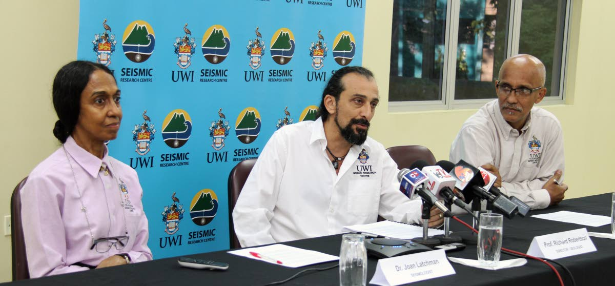 UWI Seismic Research Centre press conference from left ,seismologist  Dr Joan Latchman , engineering  seismologist Dr. Ilias Papadoupolos and Director/geologist  Professor Richard Robertson at Research institute  at Gordon St in st Augustine..PHOTO SUREASH CHOLAI   22-08-18